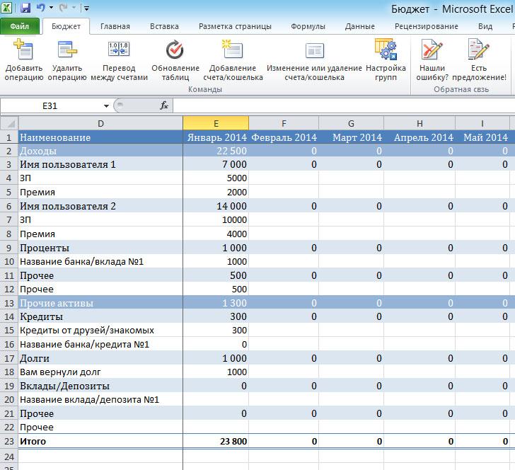 Домашняя Бухгалтерия В Excel Шаблон Скачать Бесплатно - фото 3